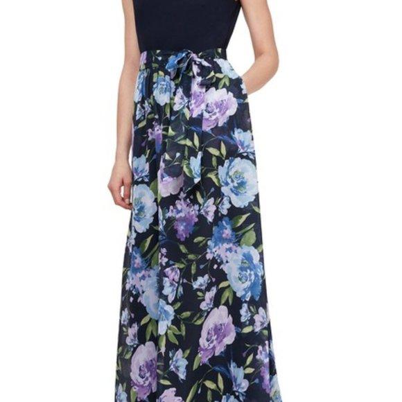 SLNY Floral Skirt Ruffle knit contrast Maxi Dress